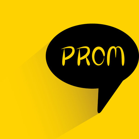 speech bubble on yellow background with prom word