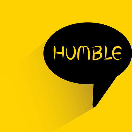 speech bubble on yellow background with humble word