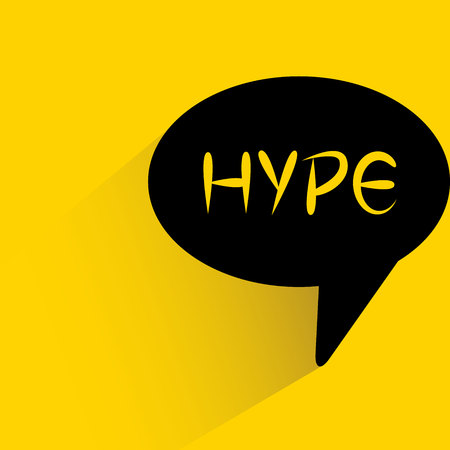 speech bubble on yellow background with hype word