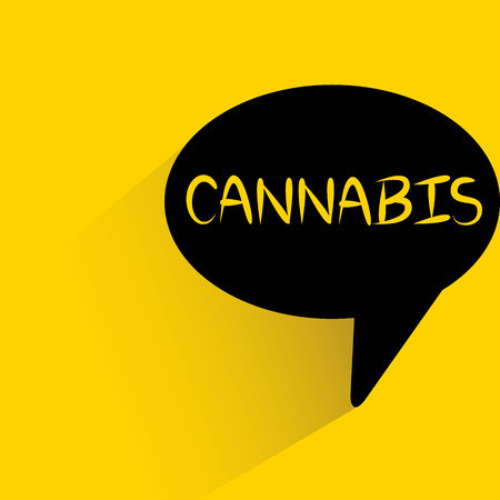 speech bubble on yellow background with cannabis word