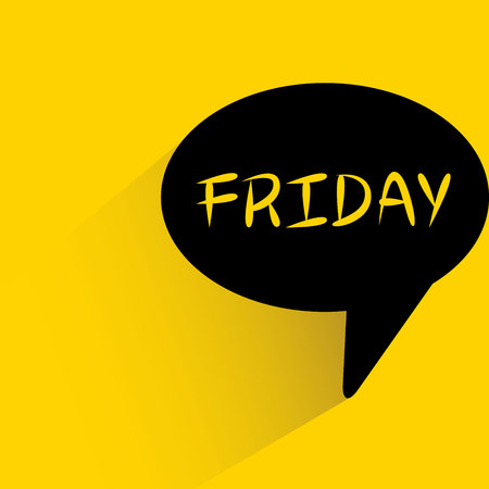 speech bubble on yellow background with Friday word