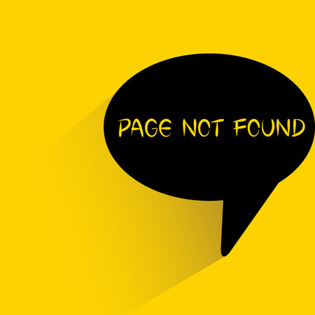 speech bubble on yellow background with page not found word Ilustração
