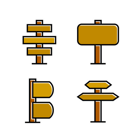 wood signboard, signage and signpost vector, brown theme Vectores
