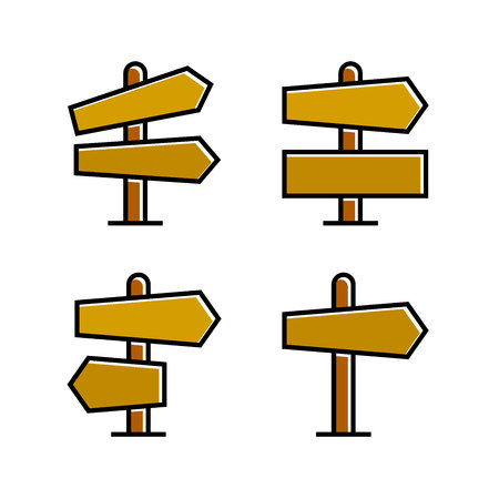 wood signboard, signage and signpost vector, brown theme Stockfoto - 120969252