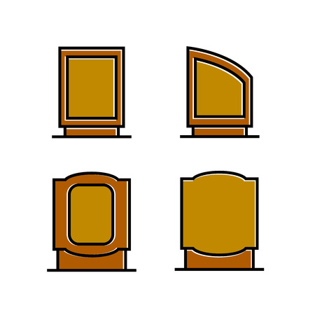 wood signboard, signage and signpost vector, brown theme Stock Illustratie