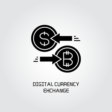 bitcoin and dollar exchange concept icon Illustration