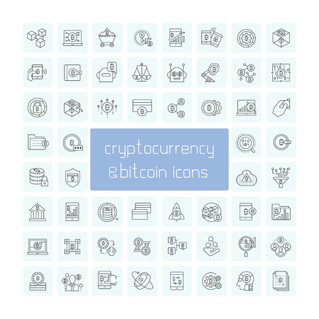 cryptocurrency, bitcoin and finance technology icons Illusztráció