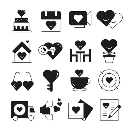 wedding and valentine icons set