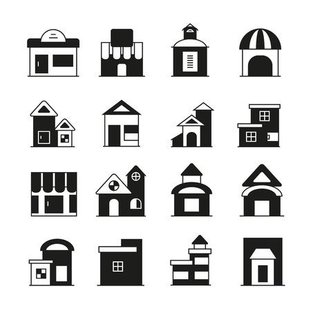 zestaw ikon budynku