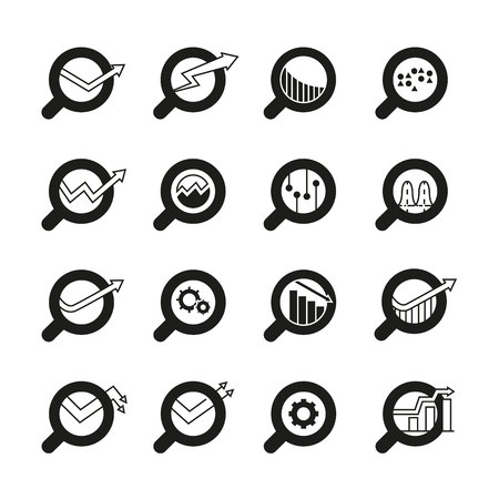 magnifier glass and data chart icons