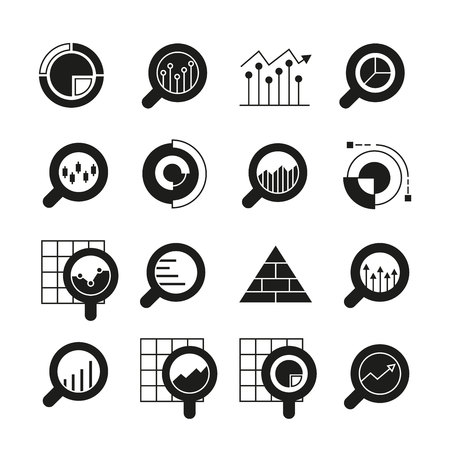 graph and chart icons for data analytics concept