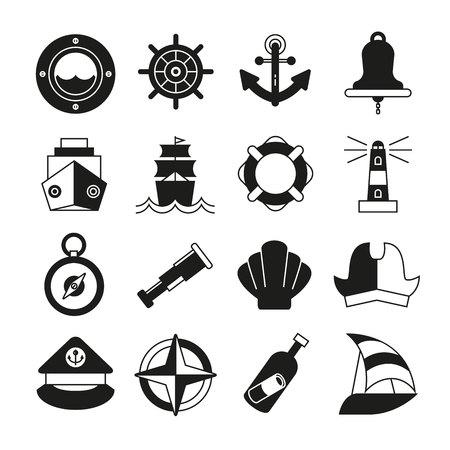 nautical and marine icons set Vector Illustration