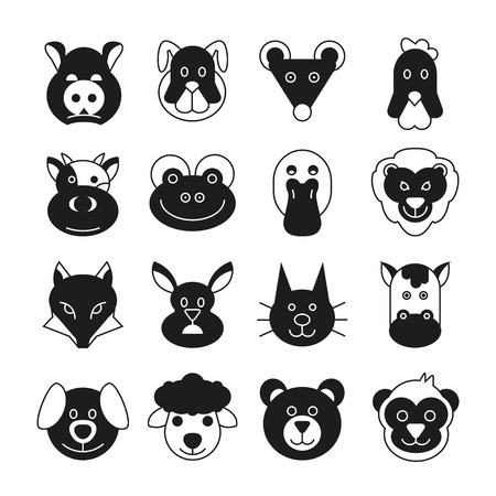 animal head icons set