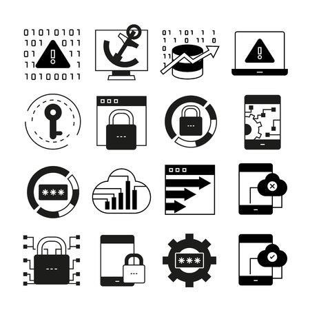 iconos de seguridad de red Ilustración de vector