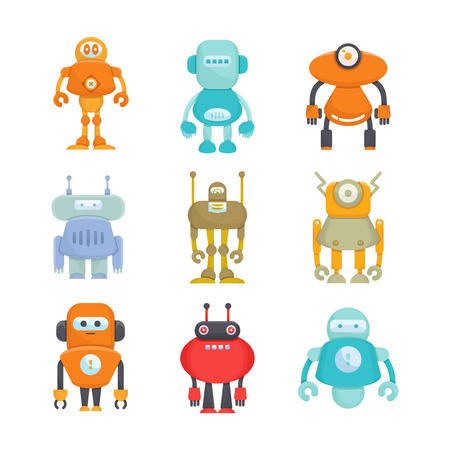robot icons cartoon character set