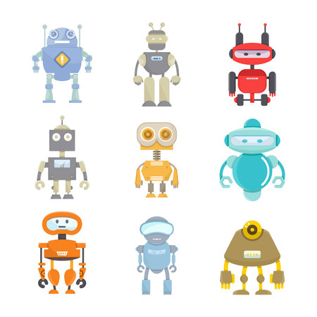 robot icons cartoon character set
