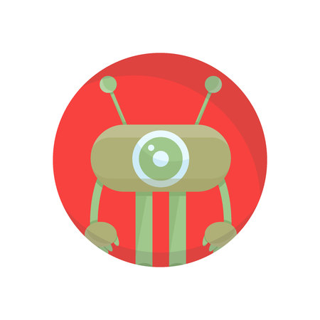robot avatar icon in circle button