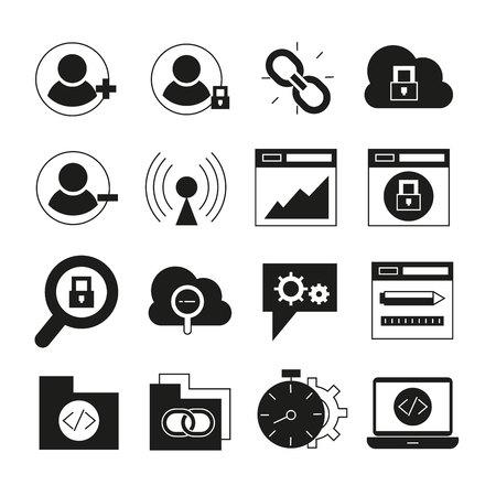 Web- und SEO-Icons gesetzt Vektorgrafik