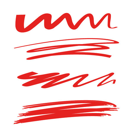 red hand drawn underline markers, brush line