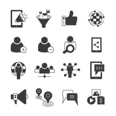 ensemble d'icônes de médias sociaux, de référencement et de réseau