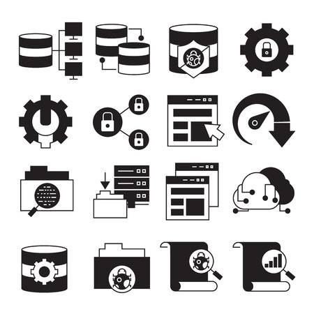 network, server and database icons