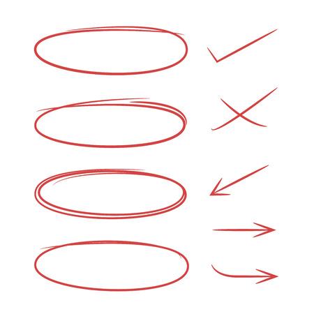 doodle éléments de marqueur ovale et flèches