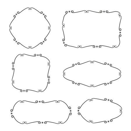 marcos y etiquetas dibujados a mano y garabatos para la decoración de tarjetas Ilustración de vector