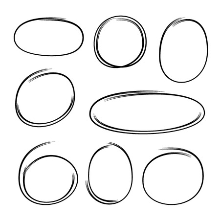 doodle oval marker elements Stock Vector - 122081599