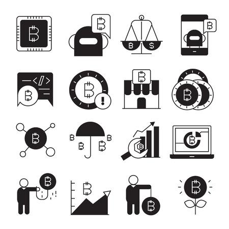 Kryptowährungs-, Bitcoin- und Blockchain-Technologiesymbole Vektorgrafik