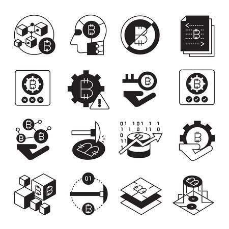cryptocurrency, bitcoin and blockchain tech icons