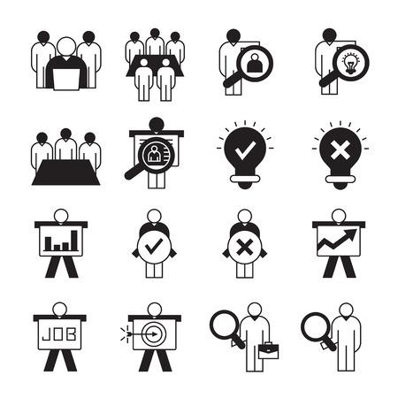 entrepreneurship, business management and organization icons
