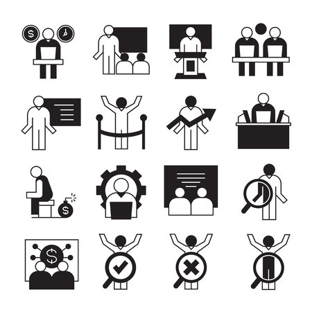 entrepreneurship, business management and organization icons