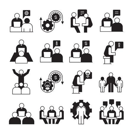 icone di imprenditorialità, gestione aziendale e organizzazione