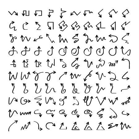 grande collezione di icone di frecce disegnate a mano e scarabocchiate Vettoriali