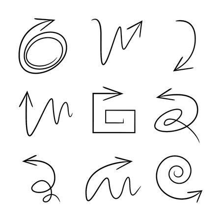 icônes de flèche de croquis
