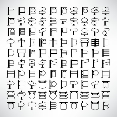 vector set of blank signboard and signpost icons
