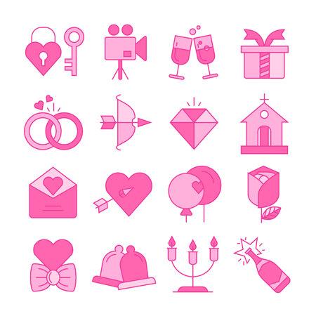 hochzeits- und valentinstagikonen stellen rosa farbthema ein Vektorgrafik