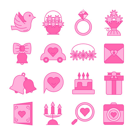 wedding and valentine icons set pink color theme Ilustração