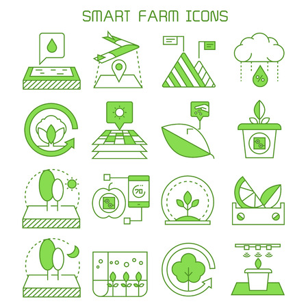 smart farm and agriculture icons vector set green theme