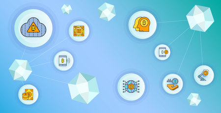 cryptocurrency and blockchain technology concept diagram vector