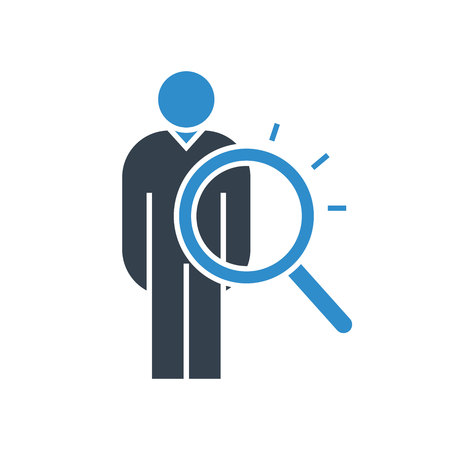 people and magnifier glass icon for human recruitment concept