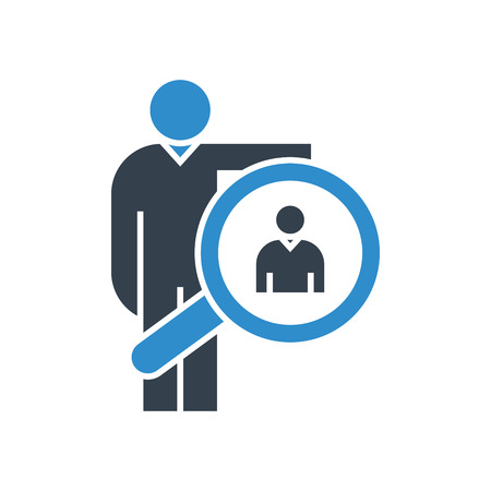 business man and magnifier icon. recruiting concept.