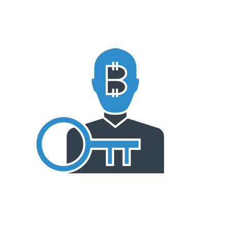 bitcoin user and encryption key icon