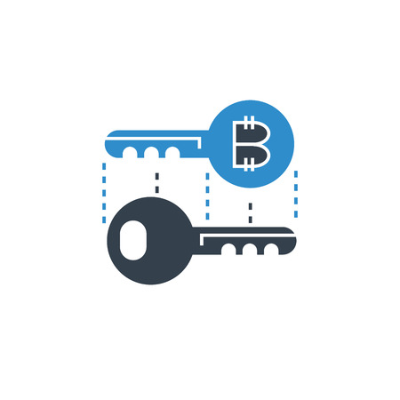 keys for security and encryption for bitcoin concept icon