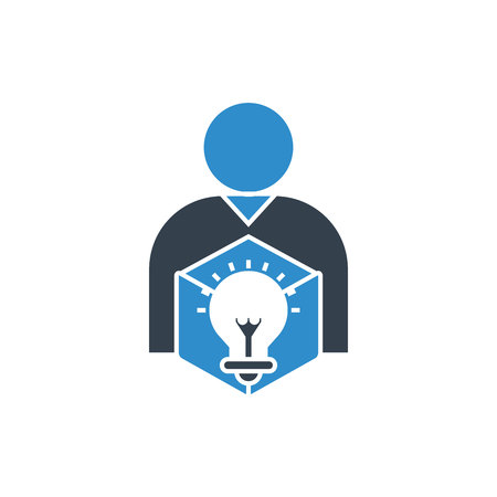 light bulb in a box. creative thinking concept icon.