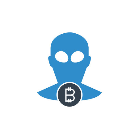 bitcoin hacker and scam concept icon Illustration