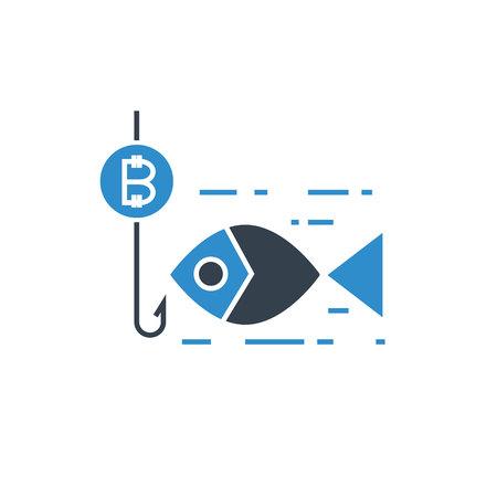 bitcoin fishing, scam concept icon