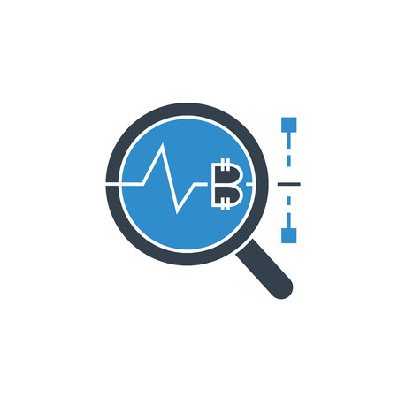 bitcoin price analytics concept icon Vector Illustration