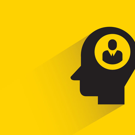 manpower in human head with shadow on yellow background