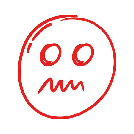 red hand drawn emoticon